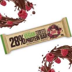 Vegan Protein Bar DeLuxe - Veganská proteinová tyčinka 24x50g Raspberries in Chocolate